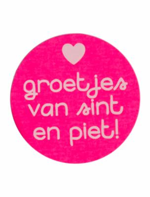 Sticker 'Groetjes van sint en piet' neon roze