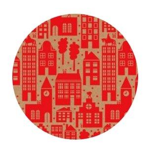 Cadeauzakjes Sint in the city kraft/rood 12 x 19