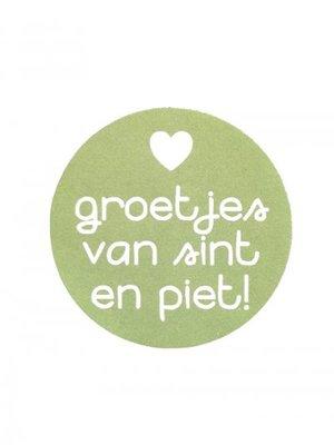 Sticker 'Groetjes van sint en piet' Jade groen
