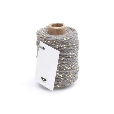 Cotton cord gray/gold roll