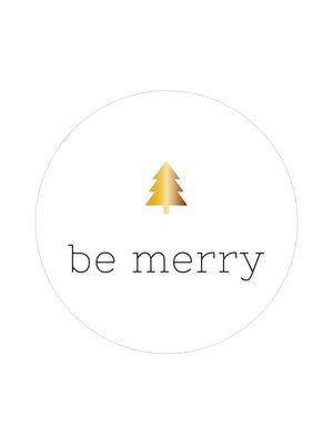 Sticker Be merry wit/goud (boompje)