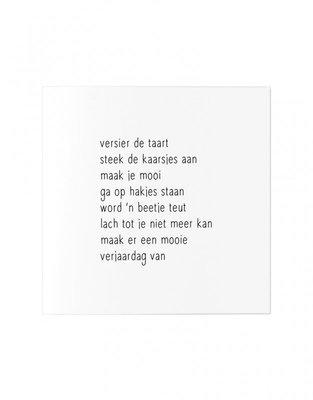 Wenskaart Gedicht versier de taart