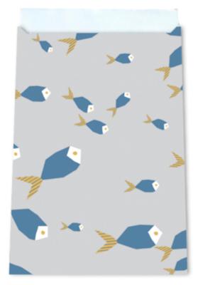 Cadeauzakjes Fishes greyblue 12 x 19