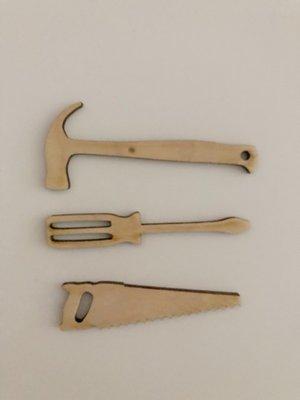 Cadeaulabel hout gereedschapset