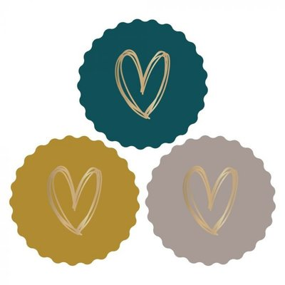 Stickers Hearts gold/coloured