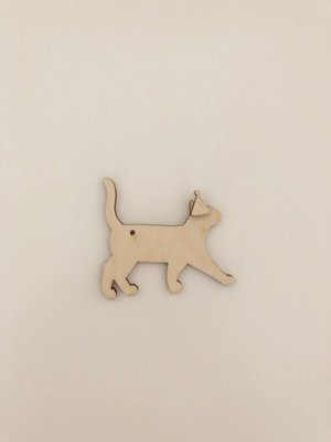 Cadeaulabel feest poes (hout)