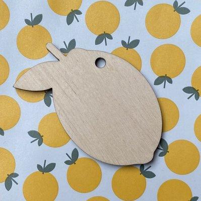 Cadeaulabel citroen (hout)