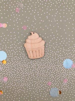 Cadeaulabel cupcake (hout)