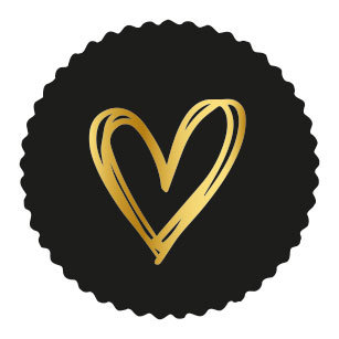 Sticker Golden heart black (zegel)