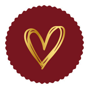 Sticker Golden heart bordeaux (zegel)