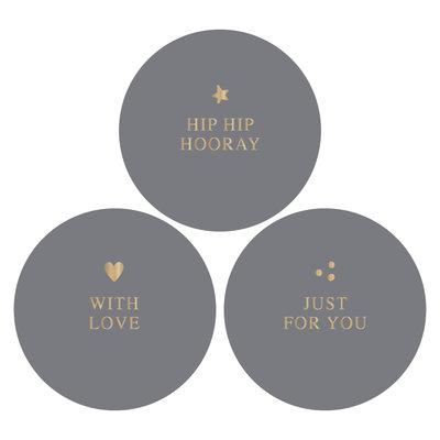 Stickers Hip hip hooray combi grey/gold