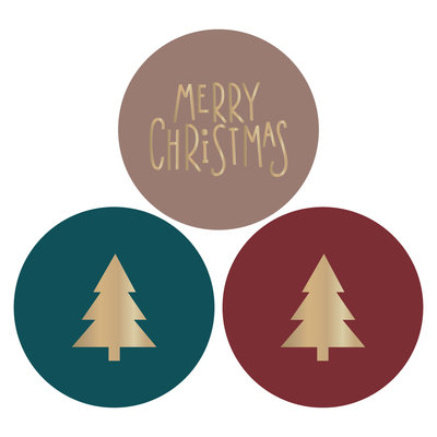 Stickers Multi - Tree / Merry X-mas - Gold