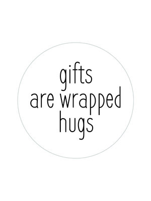 Sticker Gifts are wrapped hugs wit/zwart