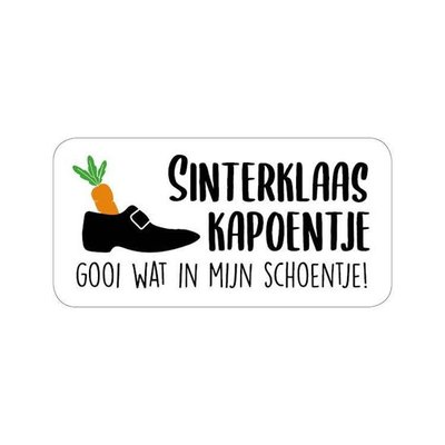 Sticker Sinterklaas Kapoentje gooi wat in mijn schoentje!