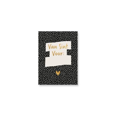 Mini kaartje Van Sint voor (zwart)