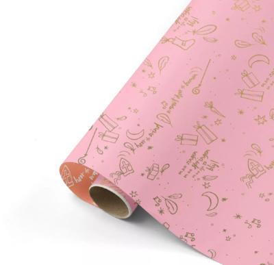 Cadeaupapier Sing along Sint roze/goud/blush