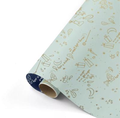 Cadeaupapier Sing along Sint mint/goud/blauw