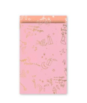 Cadeauzakjes Sing along Sint roze/goud/neon 12 x 19