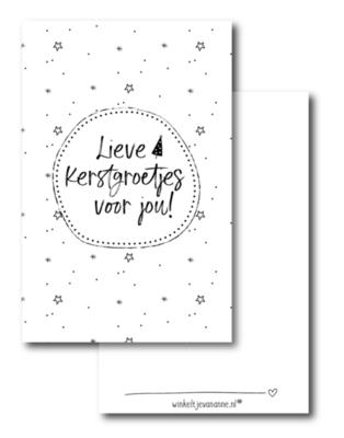 Mini kaartje Lieve Kerstgroetjes voor jou!