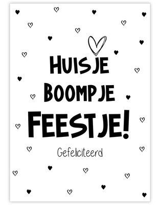 Ansichtkaart Huisje boompje feestje!