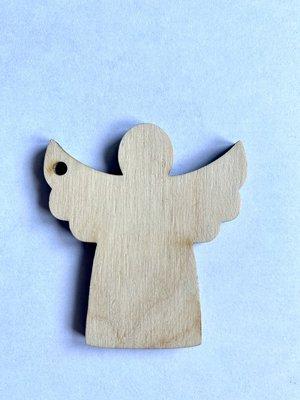 Cadeaulabel engel (hout)