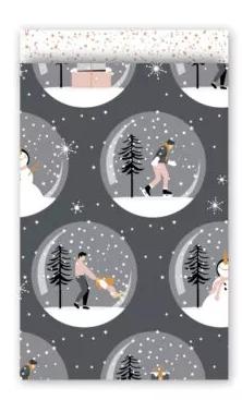 Cadeauzakjes Magical Christmas grijs/rose 12 x 19