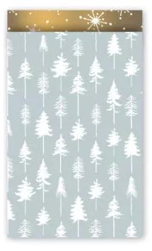 Cadeauzakjes Lovely trees ijsblauw/wit/goud 12 x 19