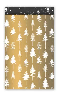 Cadeauzakjes Lovely trees goud/wit/zwart 12 x 19