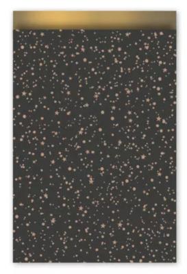 Cadeauzakjes Twinkling stars zwart/rose goud 17 x 25