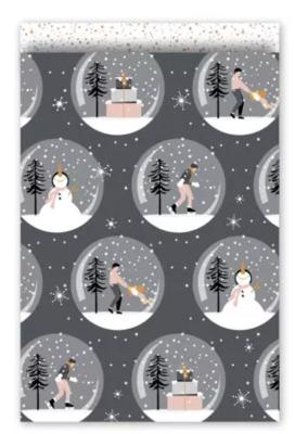 Cadeauzakjes Magical Christmas grijs/rose 17 x 25