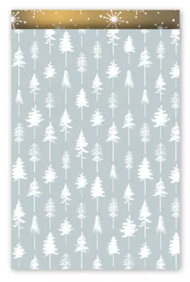 Cadeauzakjes Lovely trees ijsblauw/wit/goud 17 x 25