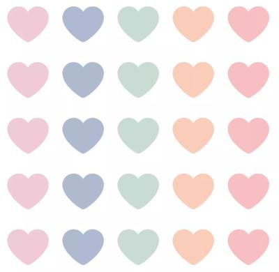 Stickers Mini hearts pastel assorti