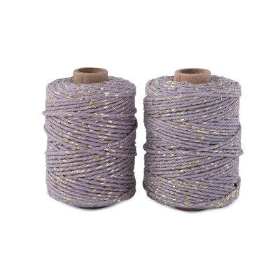 Cotton cord mauve/gold roll