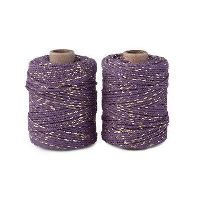 Cotton cord purple/gold roll