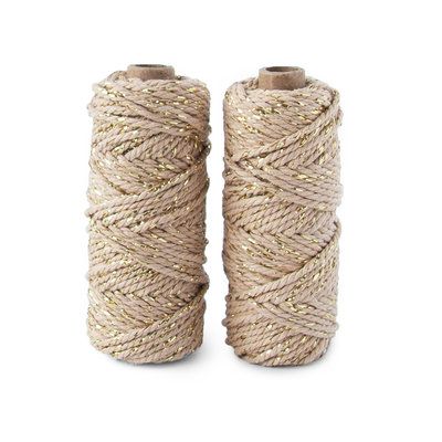 Cotton cord twist natural/gold roll
