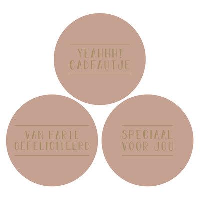 Stickers Assorti text roze/goud