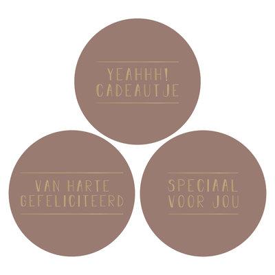 Stickers Assorti text terra/goud