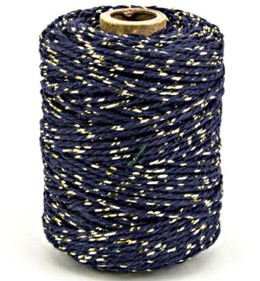 Cotton cord marine blue/gold  roll
