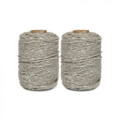Cotton cord taupe/silver roll