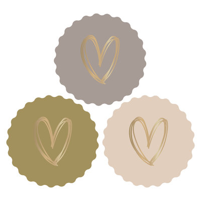Stickers Hearts gold/coloured new