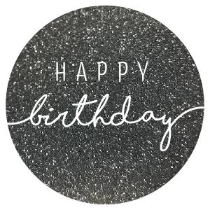 Sticker Happy birthday glitter antraciet/wit