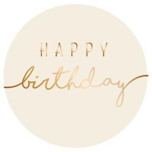Sticker Happy birthday eco wit/koper