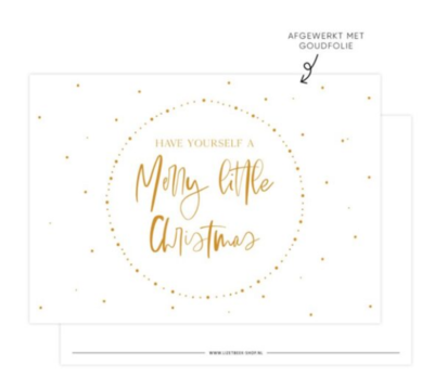 Ansichtkaart Merry little Christmas gold