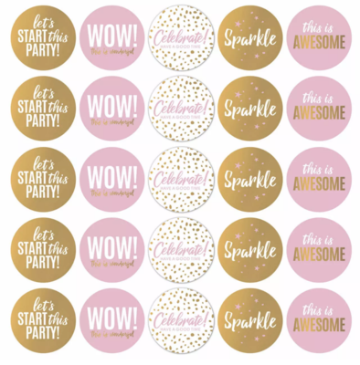 Stickers Let's Party roze/wit/goud