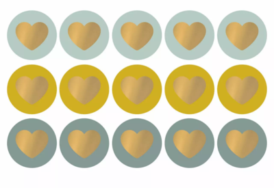 Sticker Lovely hearts cool tones/gold