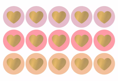 Sticker Lovely hearts pretty pink/gold