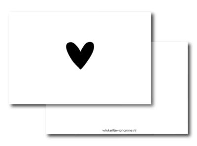 Mini kaartje Hartje zwart