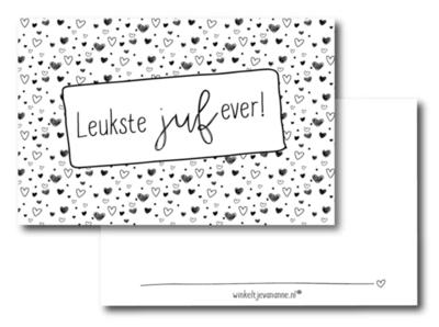 Mini kaartje Leukste juf ever!
