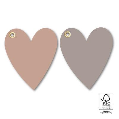 Cadeaulabel Heart eyelet grey