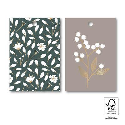 Cadeaulabel Duo flowers grey